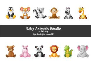 Cute Baby Animal Png Illustrations Graphic By Creation Creative Fabrica Niedliche Tierbabys Tierbabys Niedliche Babys