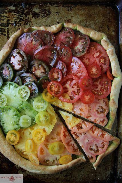 Heirloom Tomato Pizza by heatherchristo #Pizza #HeirloomTomato