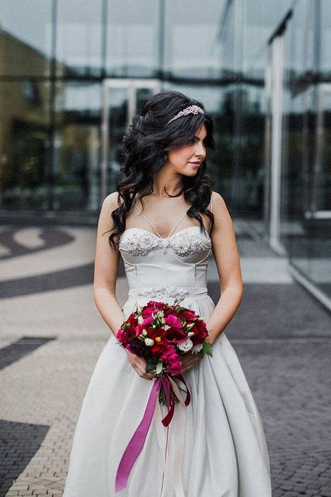 Valkona Light Gray Pearl Silk Wedding Dress Cups Push Up Pink