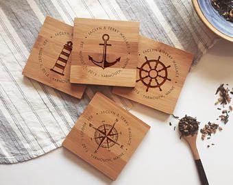 Nautical Wood Coasters Beer Coasters Laser Engraved Coasters Nautical Theme Coasters Engraved Coasters Personalized Engraved Gifts Personalized Coaster Set
