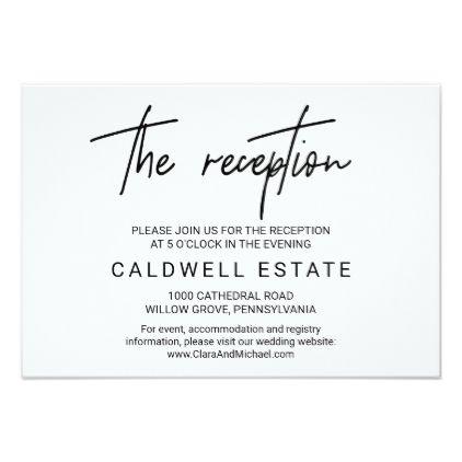 Whimsical Calligraphy Wedding Reception Card Zazzle Com Wedding Reception Cards Reception Card Wedding Reception