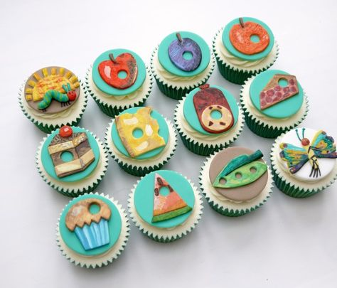 gorgeous very hungry caterpillar hand-painted cupcakes by Hello Baby Cakes