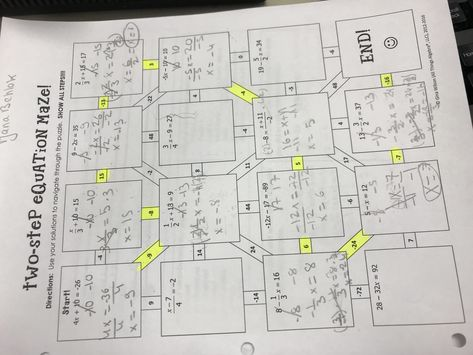 All Things Algebra Two Step Equation Maze Answers ...