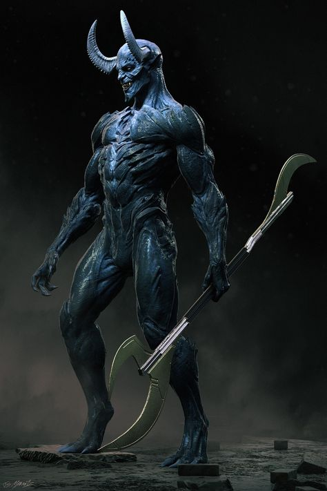 Here's my Blue Devil design for Swampthing. Had an amazing time working with Justin Raleigh and his team at Fractured Fx Inc. Shame we didn't get to see more of this guy, I was really proud of the work everyone did. Dark Fantasy Art, Anime Fantasy, Dark Art, Mythical Creatures Art, Fantasy Creatures, Vampires, Character Art, Character Design, Dc Comics