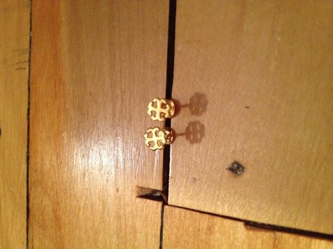French Cross post earring in plated 14K gold. $24.00, via Etsy.