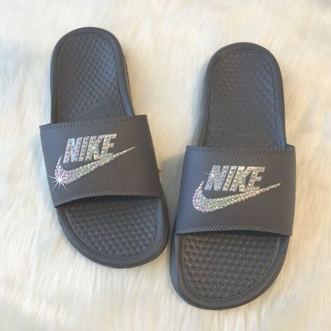 separation shoes e8f50 8a375 Swarovski Nike Slides GREY Custom NIKE JDI Grey Slippers Sandals by  SparkleBoutique2U