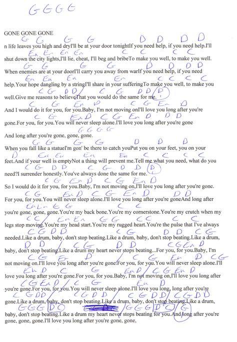 Gone Gone Gone (Phillip Phillips) Guitar Chord Chart | Guitar Lesson ...