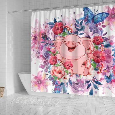 Cute Pig Flowers Pigs Lover Shower Curtains Shop For Sale Pig