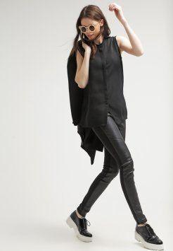 Calvin Klein Jeans - GAIA - Leren broek - black