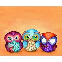 Owl Trio - Painted Fabric Birds with Berries and Starbucks Coffee - Illustration by Annya Kai - via Etsy