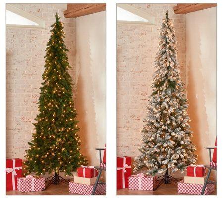 Bethlehem Lights Green Or Flocked Slim Downswept Decorator Tree Qvc Com Bethlehem Lights Slim Christmas Tree Slim Tree