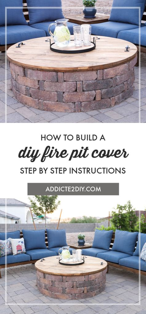Learn how to turn your unused fire pit into a table with a DIY fire pit cover. This fire pit cover only uses a few tools and is a perfect project for beginners and experienced DIYers alike. # - Fire Pit - Ideas of Fire Pit Diy Fire Pit, Fire Pit Backyard, Outdoor Fire Pits, Fire Pit On Pavers, Deck With Fire Pit, Fire Pits Backyard Ideas, Fire Pit Area, Outdoor Patios, How To Make Fire Pit With Bricks