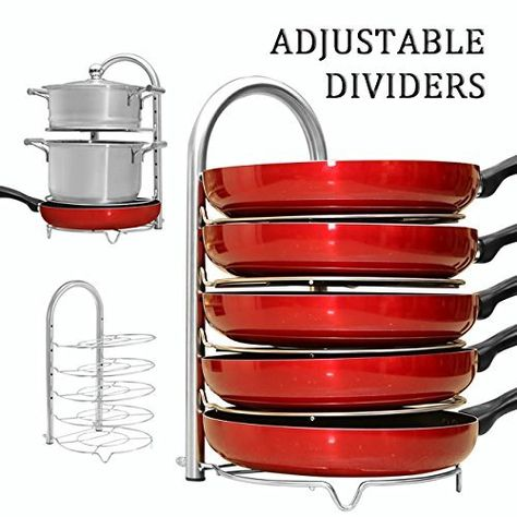 Pan Organizer Rack Pans and Lids by Bovado USA Easy Screw or Adhesive Installation Kitchen Closet Storage for Pots Holds Up to 8 Items