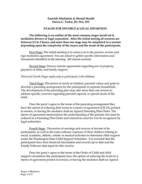 Sample Divorce Settlement Agreement Example Template Imposing