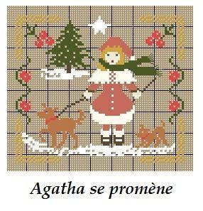 Agatha se promène...(grille gratuite) - Broderies Passion martine290
