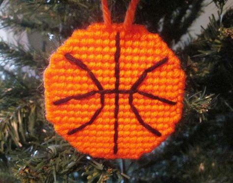 Basketball ornament in plastic canvas