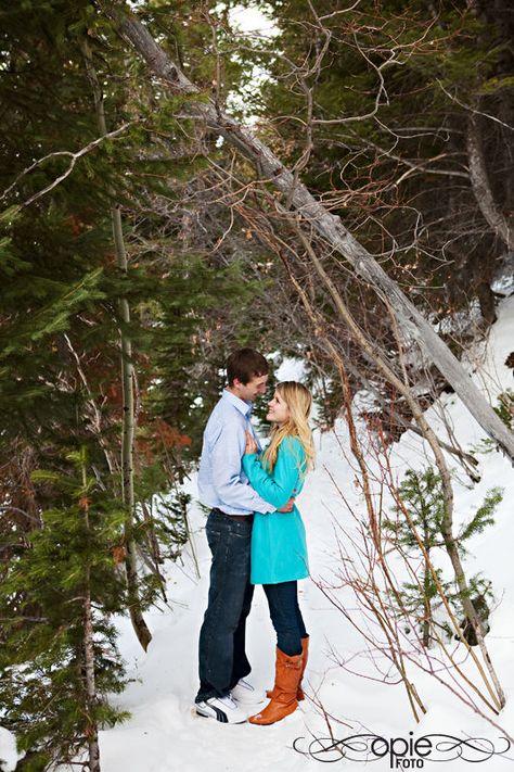 park city utah engagements photography snow winter pine trees