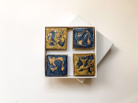 Blue and Gold Abstract Magnets, Handpainted and Gift Boxed  #etsy #housewares #birthday #blue #gold #squaremagnets #bluemagnets #whiteboardmagnets #mothersday