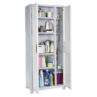 Optima Wonder Indoor Tall Utility Storage Cabinet - White And Gray ...