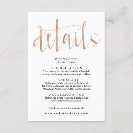 Rose Gold Wedding Details Info Card Zazzle Com In 2020 Wedding Details Card Wedding Info Card Rose Gold Wedding