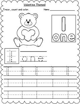 Valentine Themed Count Trace Color Numbers 1 10 Kindergarten Math Worksheets Number Words Worksheets Learning Math