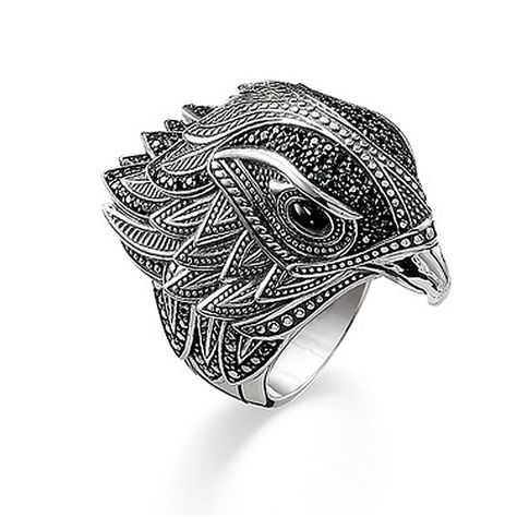Falcon Jewelry Sterling Silver Men Ring Men Ring Animal Ring Wolf Ring