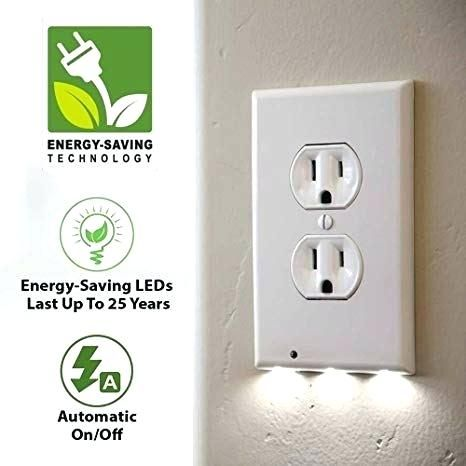 Outlet Wall Plate With Led Night Lights No Batteries Or Wires Beaustry Com In 2020 Led Night Light Night Light Plates On Wall