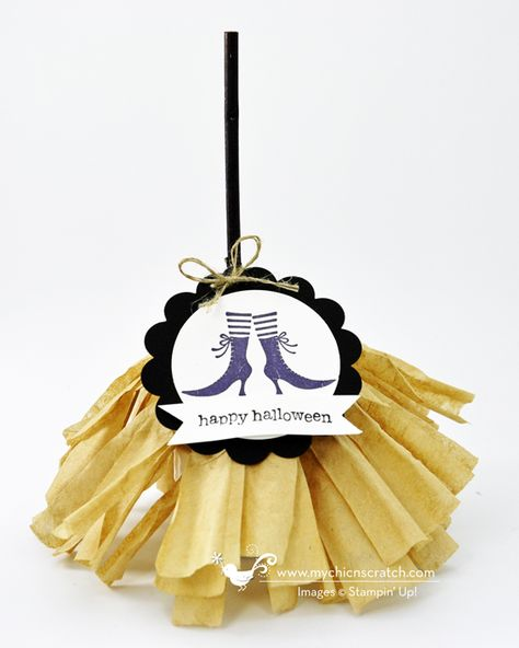 Witches Broom - They're so easy to make and you can't stop with one!  All you need is a Tootsie Roll Pop .... or a Charms Blow Pop and some Brown coffee filters.  You'll also need a Black Sharpie Marker to color the stick .....you could also use Black Electrical tape and wrap it.