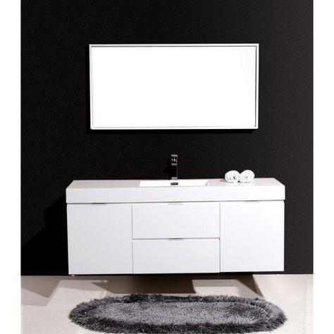 Kubebath Bliss 60 White Vanity Bathroom Single Sink Bathroom