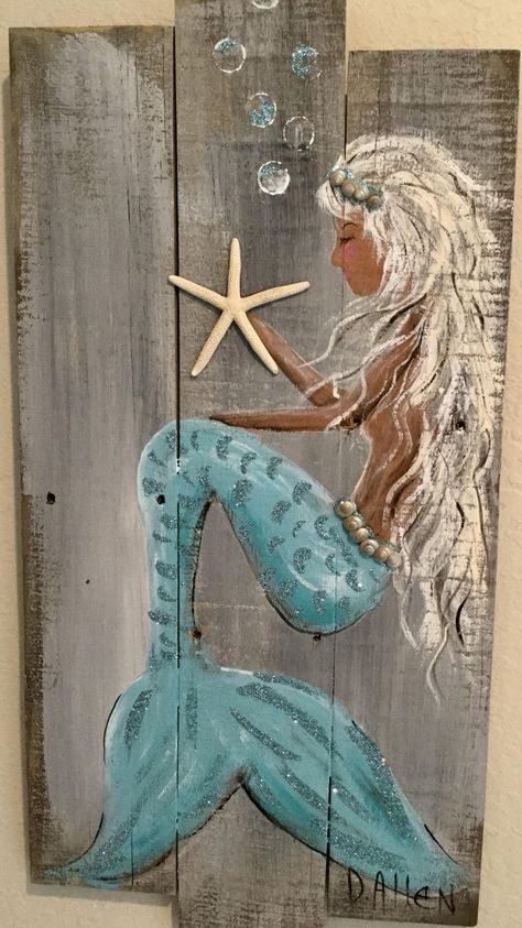 Teal Paint, White Chalk Paint, Driftwood Crafts, Seashell Crafts, Beach Crafts, Mermaids On Wood, Mermaid Outline, Mermaid Wall Art, Mermaid Sign