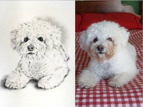 Art Print Cute Puppies Pet Portrait Print Original Artwork Pawtrait Dog Lover Present Bichon Frise Dog Mother/'s Day Gift