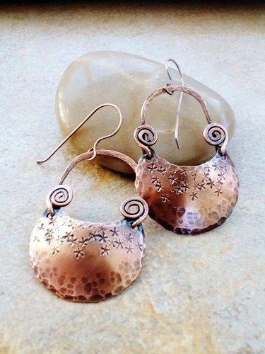 copper and stone earrings Copper Swing Earrings chain earrings handmade earrings copper chain earrings unique earrings copper earrings