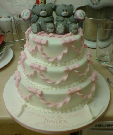 3 tier christening cake, with ribbons and bows and 2 me to you bear toppers xx