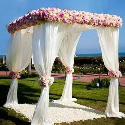 4 Post 10ft X 10ft Diy Adjustable Wedding Backdrop Stand Outdoor Canopy Tent Chuppah Modern Mandap Metal Wedding Photo Exhibition Booth With Weighted Stee Chuppah Wedding Canopy Mandap