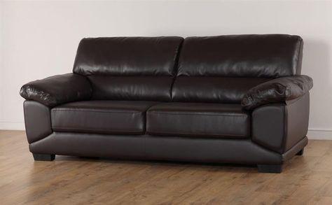 Oregon Brown Leather 3 Seater Sofa   Sofa, 3 seater sofa, 3
