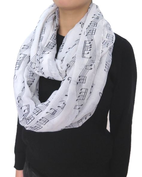 Lina /& Lily Music Notes Print Womens Infinity Loop Scarf White