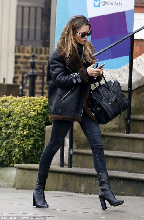 Work it: Parading her effortless style, she accessorised her daytime ensemble with a pair ...