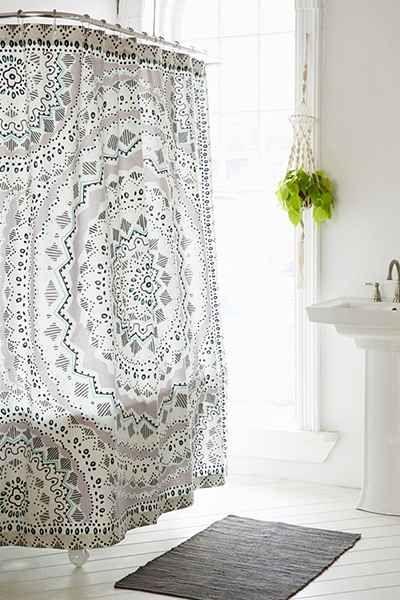 Grungy Green Geometric Box Pattern Shower Curtain | Box patterns