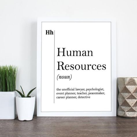 Human Resources Definition Print HR Office Decor Recruiter Coworker New Job Gift Professions Wall Art Scandinavian Dictionary Typography