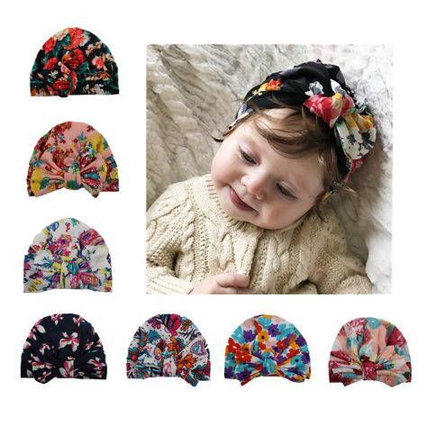 Floral Print Knotted Headband Cute Baby Cap Kids Baby Turban Beanie Hat