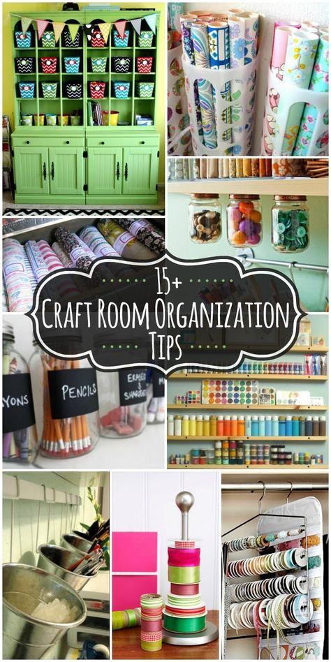 15+ Craft Room Organization Ideas on { lilluna.com } #craftroom. LOVE using the pant hangers for ribbons!