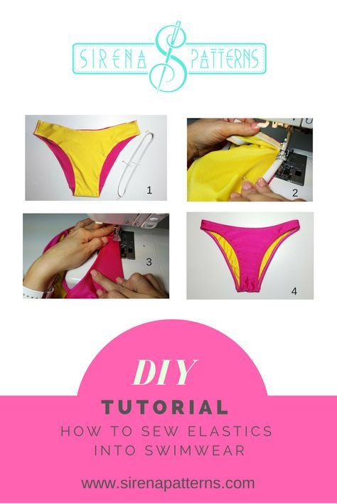 Learn how to sew elastics into swimwear with a regular sewing machine!How to Attach Elastic to a Bikini Bottom – No serger needed!