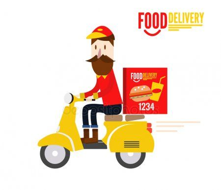 Food Delivery Man Is Riding Yellow Motor Bike Stock Vector