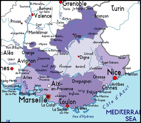 Detailed Map Of Provence Cote D Azur France France Map France