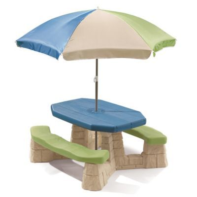 Step2 Naturally Playful Picnic Table With Umbrella In Blue Blue