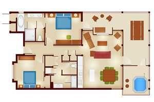 Copper Creek Villas And Cabins 2 Bedroom Cascade Cabin Floor Plan Disney Wilderness Lodge Copper Creek Cabin Floor