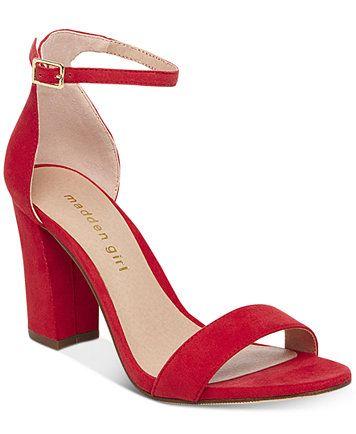 red sandals with block heel