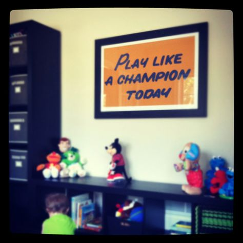 Sports quotes in a playroom We d have to change those