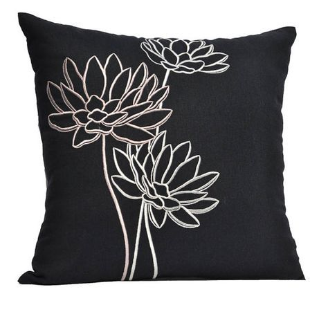Punch Needle Throw Pillow Cover Lotus Handmade Pillow Cover Modern Home Decor Cushion and Punch Needle
