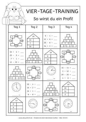 Vier-Tage-Mathe-Training (Zahlenraum bis 10) - | Arbeitsblätter ...